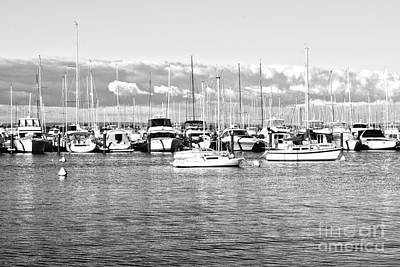 Black And White Boats Print by Cassandra Buckley