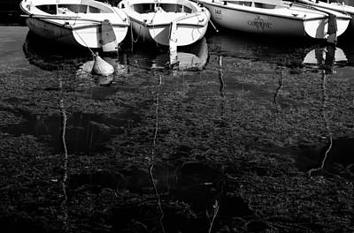 Black And White Boats Print by Pati Photography