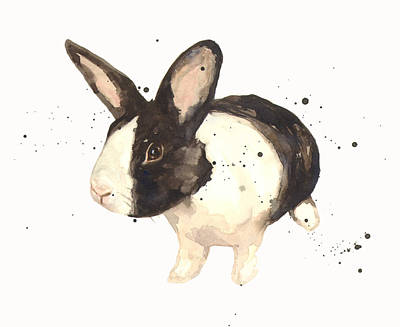 Rabbit Painting - Black And White Bunny by Alison Fennell