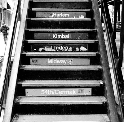 Downtown Stairs Photograph - Black And White Chicago L Stairs by Anthony Doudt
