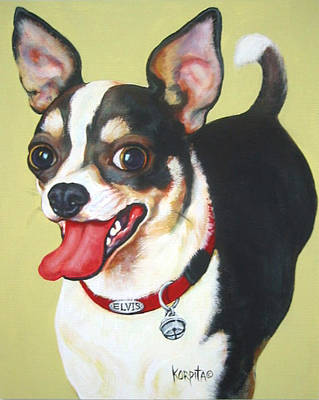 Funny Dog Painting - Black And White Chihuahua by Rebecca Korpita