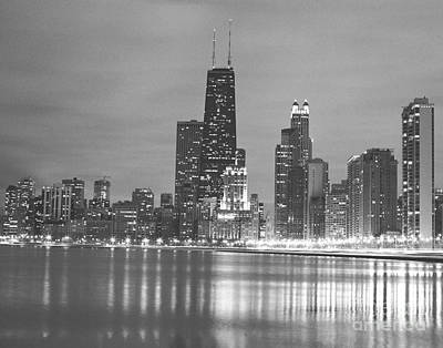 Black And White City Of Chicago Photography Print by Horsch Gallery
