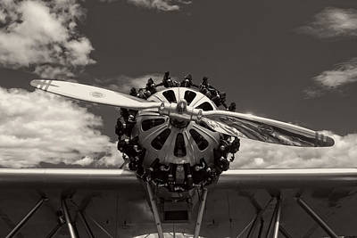 Black And White Close-up Of Airplane Engine Print by Keith Webber Jr