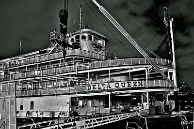 Black And White Delta Queen Print by Frozen in Time Fine Art Photography