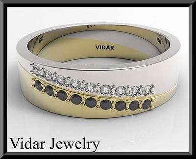 Vidar Jewelry Jewelry - Black And White Diamond 14k Yellow Gold Men's Wedding Ring by Roi Avidar