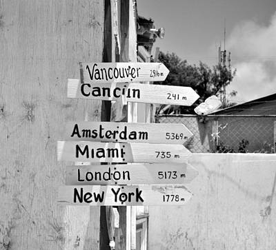 Directional Signage Photograph - Black And White Directional Sign by Kristina Deane