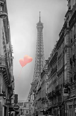 Eiffel Tower Photograph - Eiffel Tower Black And White With Pink Balloons In Paris -- Up And Away by Lynn Langmade