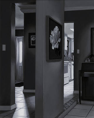 Interior Still Life Painting - Black And White Foyer by Tony Chimento