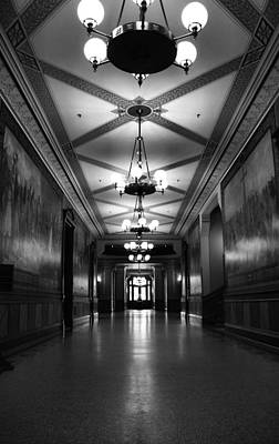 Universities Photograph - Black And White Hallway Notre Dame by Dan Sproul