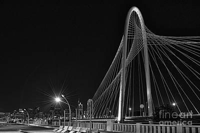 Dallas Skyline Photograph - Black And White Hunt-bridge-dallas by Tod and Cynthia Grubbs