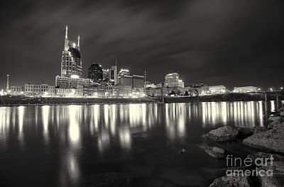 Black And White Image Of Nashville Tn Skyline  Print by Jeremy Holmes