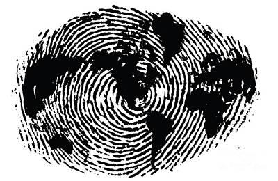 One Of A Kind Digital Art - black and white ink print poster One of a Kind Global Fingerprint by Sassan Filsoof