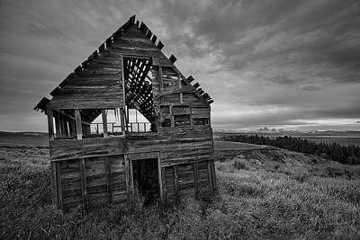Old Cabins Photograph - Black And White by Leland D Howard