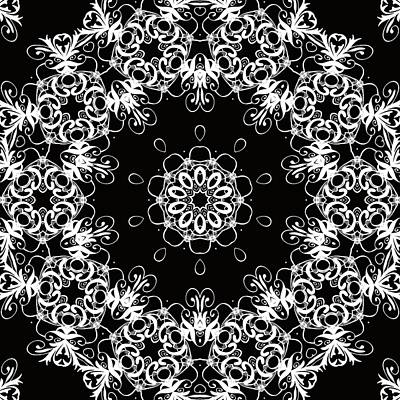Black And White Medallion 1 Print by Angelina Vick