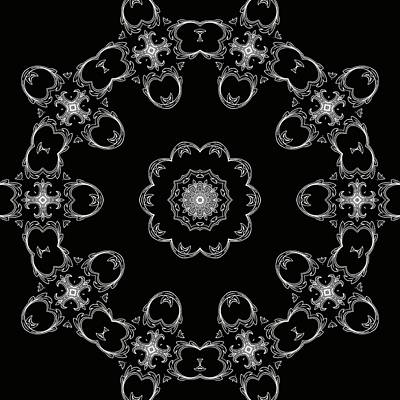 Black And White Medallion 3 Print by Angelina Vick