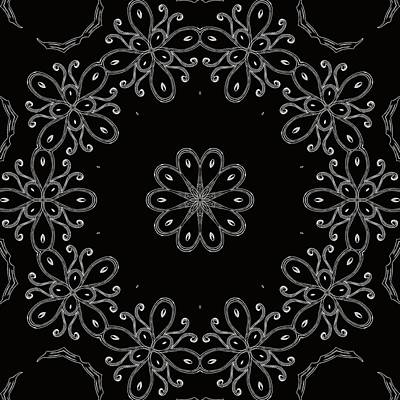 Black And White Medallion 4 Print by Angelina Vick