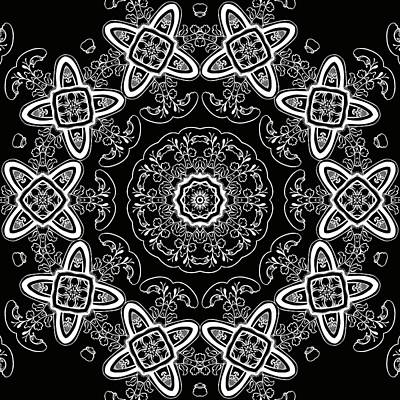 Black And White Medallion 5 Print by Angelina Vick