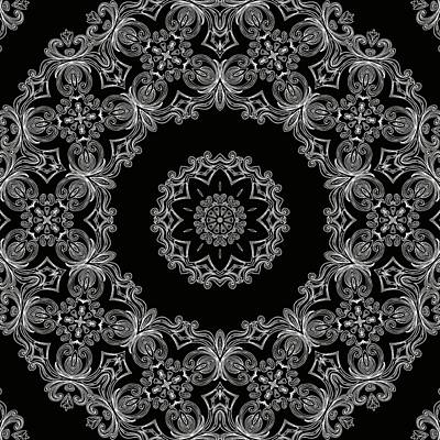Black And White Medallion 6 Print by Angelina Vick