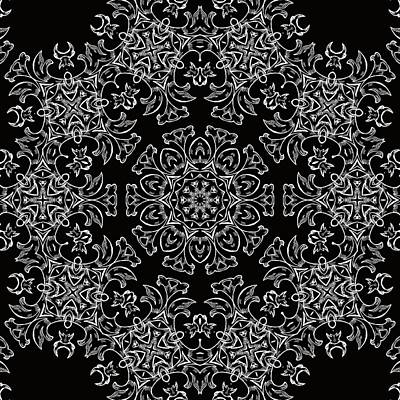 Black And White Medallion 7 Print by Angelina Vick