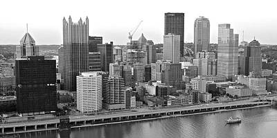 Black And White Panoramic Of Pittsburgh Pa Print by Frozen in Time Fine Art Photography