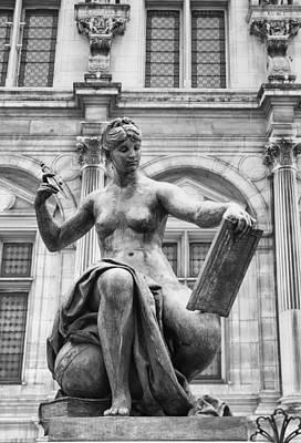 Paris Surreal Parks Photograph - Black And White Paris Statue by Georgia Fowler