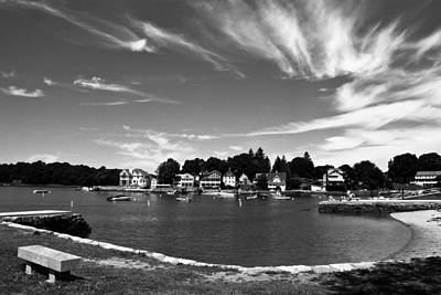 Black And White Photo Park Bench Stony Creek Harbor Connecticut Print by Robert Ford