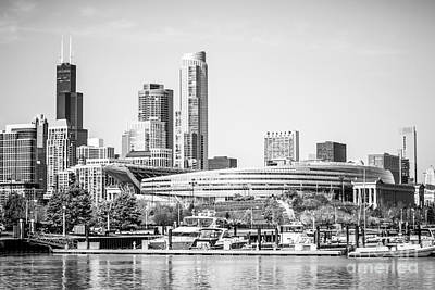 Soldier Field Photograph - Black And White Picture Of Chicago Skyline by Paul Velgos