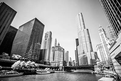 Riverfront Photograph - Black And White Picture Of Downtown Chicago by Paul Velgos
