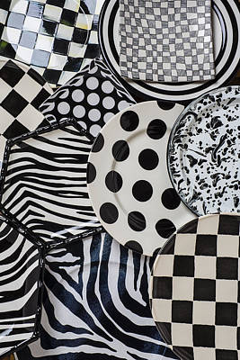 Platter Photograph - Black And White Plates by Garry Gay
