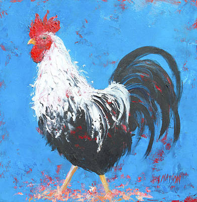 Black And White Rooster On Blue  Print by Jan Matson