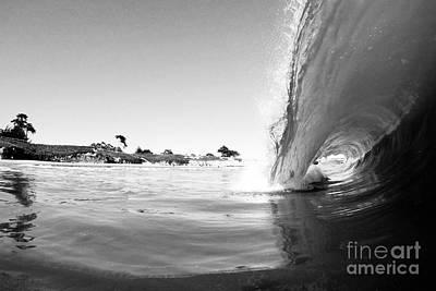Black And White Santa Cruz Wave Print by Paul Topp