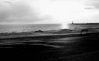 Winter On Lake Michigan With Beach And Lighthouse Pier At Sunset Black And White  Print by Rosemarie E Seppala