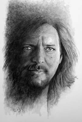 Pearl Jam Digital Art - Black And White Vedder by William Walts