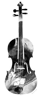 Black And White Violin Art By Sharon Cummings Print by Sharon Cummings