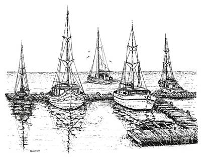 Ink Drawing - Black And White With Pen And Ink Drawing Of The Berth by Mario Perez