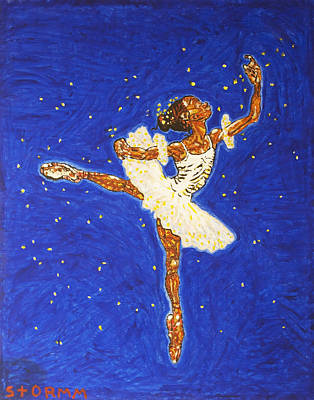 Dance Painting - Black Ballerina by Stormm Bradshaw
