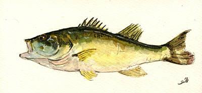 Black Bass Fish Print by Juan  Bosco