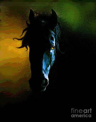 Quarter Horse Digital Art - Black Beauty by Robert Foster