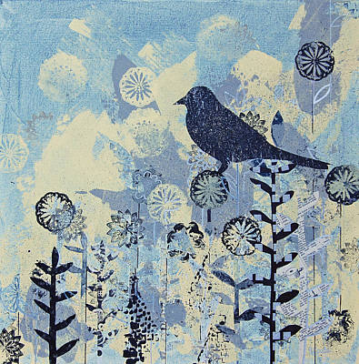 Leaf Stencil Mixed Media - Black Bird On Gray And Yellow Flowers by Robin Coats
