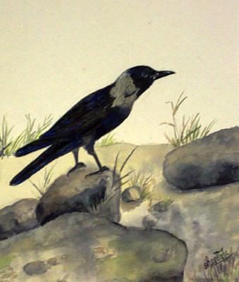 Crow Painting - Black Bird by Sheela Padmanabhan