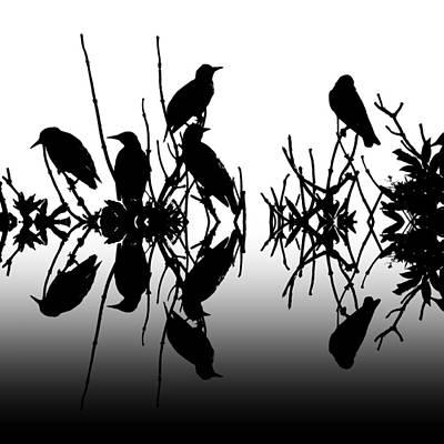 Starlings Digital Art - Black Birds by Sharon Lisa Clarke