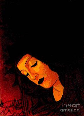 Black Botticelli Madonna Print by Genevieve Esson