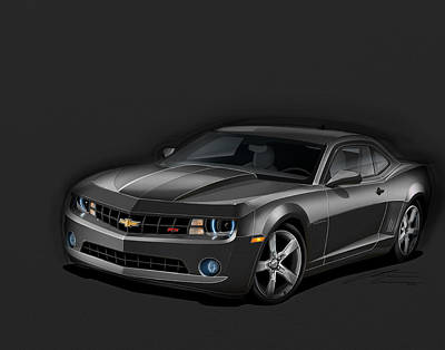 2012 Digital Art - Black Camaro by Etienne Carignan