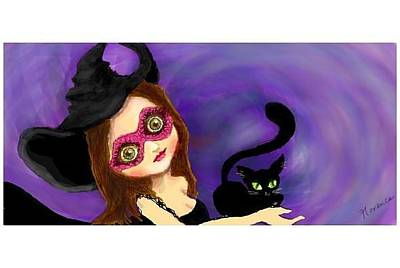 Big Eye Girl With Black Cat Original by Florence Lee