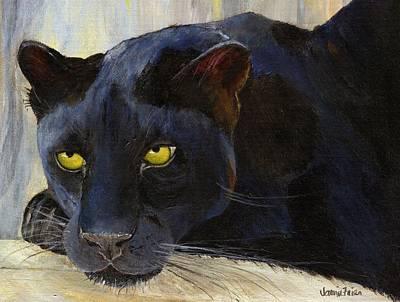Frier Painting - Black Cat by Jamie Frier