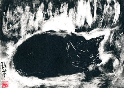 Black Cat Monoprint-1 Print by Janet Gunderson