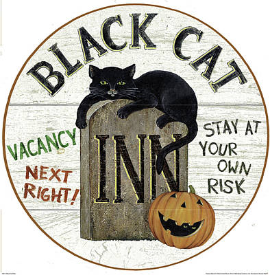 Halloween Painting - Black Cat Plate by David Carter Brown