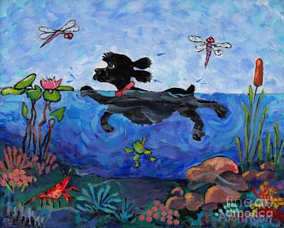 Cocker Spaniel Painting - Black Cocker Swimming by Peggy Johnson