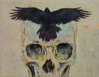Raven Painting - Black Crow by Michael Creese