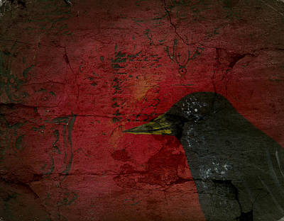Abstract Art Painting - Black Crow Raven Fine Art Print by Laura  Carter